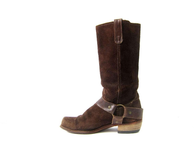Suede Leather Harness Boots Tall Leather Motorcycle Biker Boots Square Toe Vintage Western Rock Star Boots Womens Size 9 D 9.5