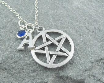 Pentagram necklace, silver pentagram pendant, personalized jewelry, initial necklace, swarovski birthstone, pagan jewelry, wiccan necklace