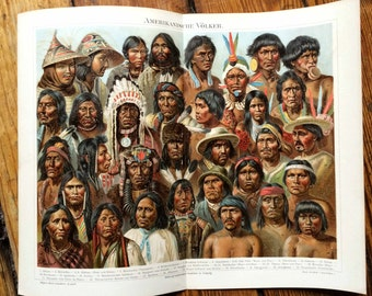 1894 NATIVE AMERICANS LITHPGRAPH american peoples original antique culture print