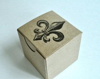 Fleur De Lis wedding favor boxes, brown kraft box, gift boxes set, 2x2 box gift box
