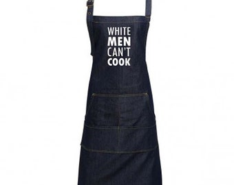 Fun Denim Cooking / BBQ Bib Apron, White Men Can't Cook, Unisex