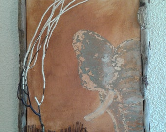 Painting Elephant, driftwood and seaweed