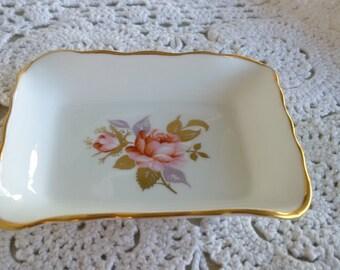Aynsley china trinket dish butter pat or pin dish rectangle tray - pink roses