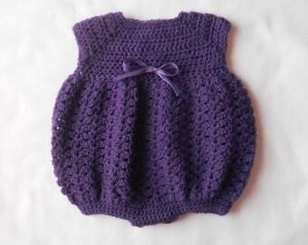 Crocheted Preemie Bubble Romper- Purple