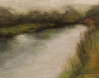 Abstract painting landscape, original acrylic tonalist landscape, Fishing pond VI  atmospheric, wall art, 5x7 inches