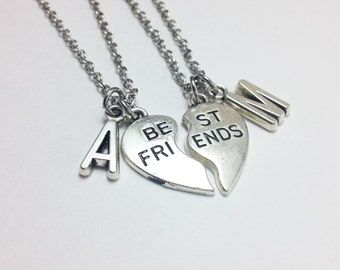 set of 2 best friend necklaces -heart necklace - personalized necklace - bff necklace - friendship gift - silver heart necklace