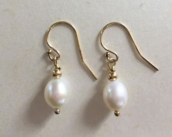 White Pearl Gold Dangle Earrings, White Pearl Earrings, Gold Earrings, Yellow Gold Earrings, Gold Filled Jewellery, Pearl Bridal Jewelry,