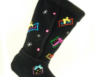 Christmas Stocking Boiled Wool Felt Neon Snowflakes Presents Pink Satin Buttons Embroidery Ribbons Karen Scott Sweater Black Hot Colors 961