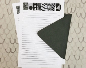Black and White and Read All Over stationery paper set, letter writing pages and envelopes