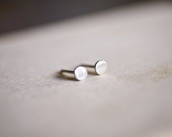 Flat Round Silver Earring Studs