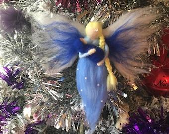 Handmade Needle Felted Angel with Baby