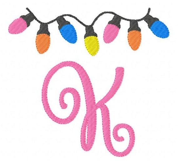 Christmas Lights 5x7 Machine Embroidery Monogram Font Design