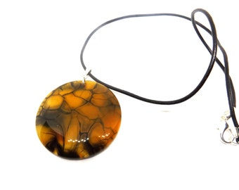 Yellow and Black Dragon Vein Agate Necklace