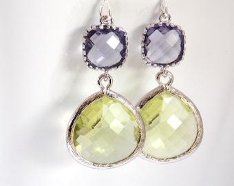 Glass Earrings, Peridot Earrings, Apple Green, Light Green, Silver Earrings, Purple Earrings, Wedding, Bridesmaid Earrings, Bridesmaid Gift
