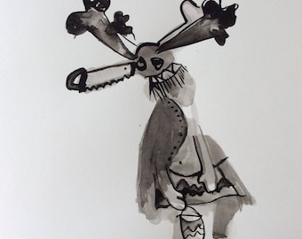 Ogre kachina with floating saw original drawing watercolor painting outsider art