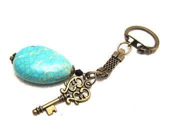 Keychain /keyring/ gemstone keychain with turquoise/turquoise pendant keychain/ gemstone keychain/ keychain/ cheap gift under 7