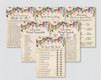Floral Bridal Shower Games Package with Six Games- Printable Flower Garden Bridal Shower Games - He Said She Said, Bingo, etc 0002-A
