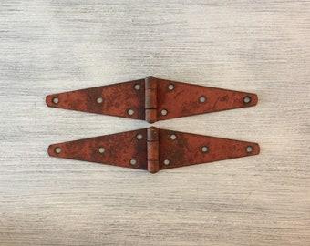 Vintage Hinges, Rusty Strap Hinge,  Barn Door Hinge, Hardware, Large Hinges, Large Vintage Hinges,Chippy Paint