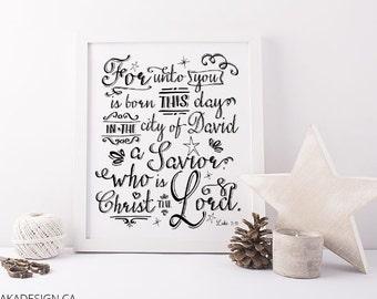 For Unto You is Born Luke 2:11 Digital Art Print