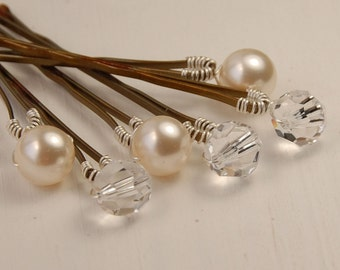 Pearl and Clear Crystal Bobby Pins, Mixed Set, Swarovski 8 mm Ivory Pearls & Clear Crystals on Bronze Bobby Pins,Set of 6, Bridal Hair Pin