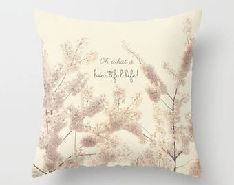 Home Decor, Decorative, Throw Pillow, Beautiful, springtime, blooms, blossoms, tree branches, Nature Photography by RDelean