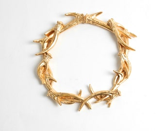 Faux Deer Antlers Wreath in Gold - Deer Antler Decor Wall Decor - Rustic Resin Decor by White Faux Taxidermy Antler Wreath Sculpture Hanging