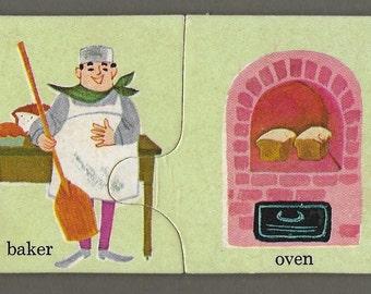 Vintage Mid Century Children's Illustration - Baker And Oven