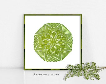 DOILY 2 in MOSS GREEN - digital image download - printable vintage image for image transfer - totes, pillows, prints, fabric, towels, tags