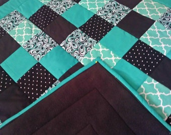 Black and Teal Quilt, Teal Baby Quilt, Lap Quilt for Seniors, Modern Lap Quilt, Aqua Baby Quilt, Wheelchair Quilt, Teal Baby Quilt