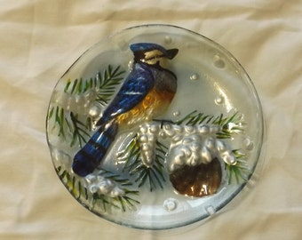 "Vintage Glass Decorative Plate with Blue Jay 8""  CL33-3"
