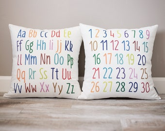 Toddler Gift Set | Baby Nursery Decor | Personalized Gift | Alphabet Pillow | Numbers Pillow | Birthday Gift for Toddler | Baby Gift | Gifts