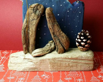 Driftwood Nativity scene. Handmade handpainted unique piece. Christmas decoration, collectable, Nativity lover gift.