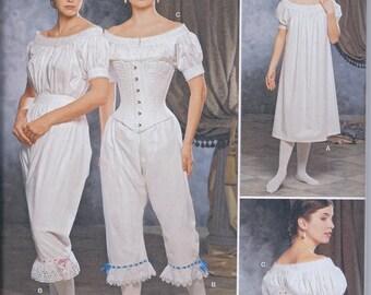 Simplicity 1139 Victorian Civil War Undergarments Chemise Drawers Corset UNCUT Sewing Pattern