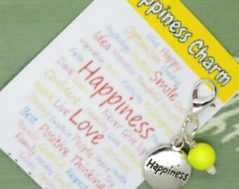 Happiness Charm - Happiness Clip - Keychain Charm - Zipper Pull - Bracelet Charm