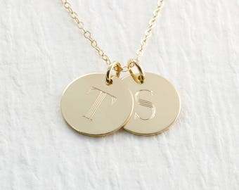 14k Gold Initial Necklace Personalized Jewelry Personalized Solid Gold Engraved Mothers Necklace Initial Jewelry Gift Holiday Gift For Her