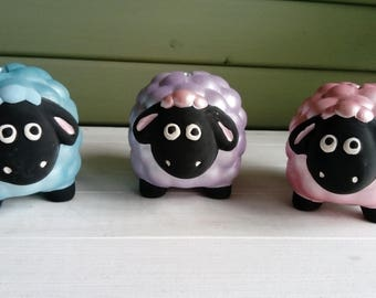 Ceramic hand painted sheep money box
