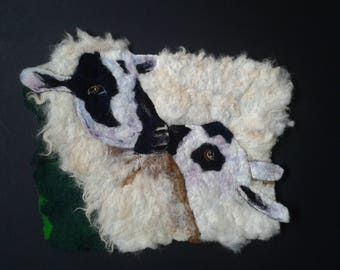 Mother's Love - framed felted picture of a sheep and her lamb