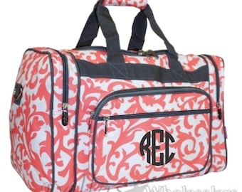 MonogramCoral Damask 20 inch Duffle Bag