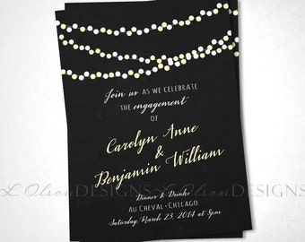 City Lights Engagement or Save the Date - Charcoal Yellow - DIY Printable