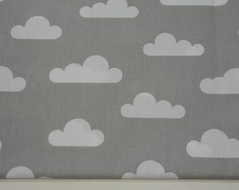 100% cotton fabric piece 160 x 50 cm, textile printing, cotton 100% white clouds on a grey background