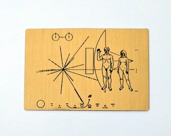 NASA Pioneer Plaque magnet, laser engraved.