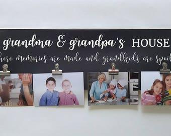 Grandkids Picture Frame Photo Display, Christmas Gift For Grandparents, Personalized Present For Grandparents, Grandma And Grandpa's House