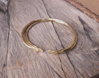 Open Hammered Brass Bangle