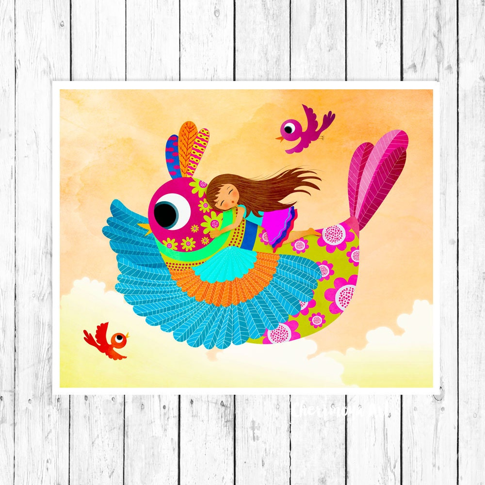 Riding Bird Art Print Nursery Wall Art Print Girl\'s Room