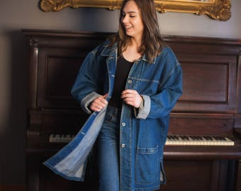 Denim Chore Coat Jean Jacket Vintage Oversized with Pockets Button Up XL Faded