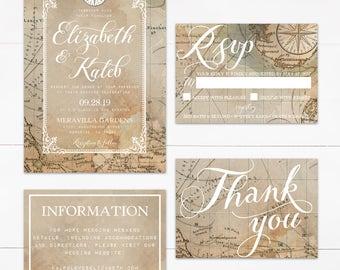 Vintage Travel Wedding Invitation Suite (Printable)