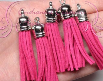 59mm Hot Pink Faux Suede Tassel Charms With Silver Top, 5pcs Graduation Gift, End of School, DIY Keychain, Necklace, Bracelet, Earrings