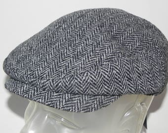 Mens Harris Tweed earflap driving or flat top cap