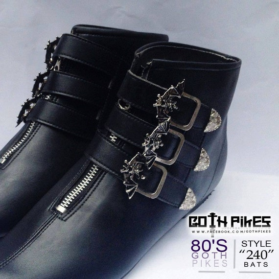 Goth Pikes X3 Buckle Winklepickers Boots Bats Gothic Batcave Wgt Siouxsie 80s Unisex Leather , Vegan by Etsy