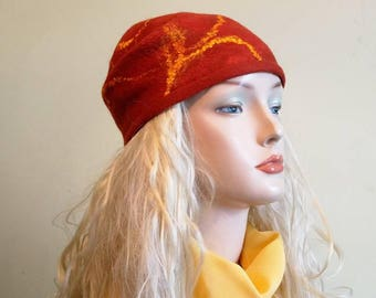 Terracot Felted hat for woman